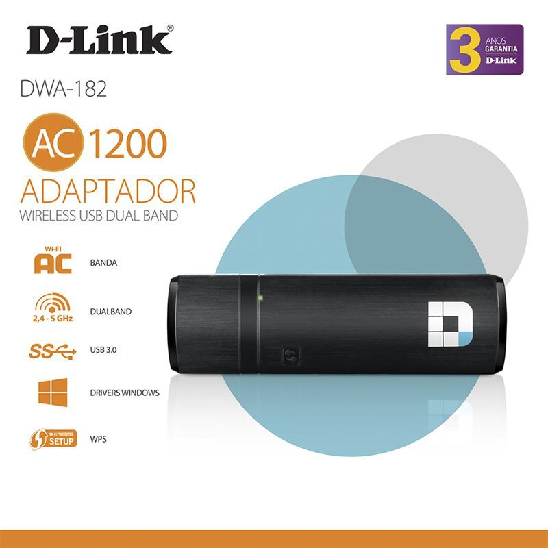 Adaptador D-LINK DWA-182 Wireless USB 11AC Dualband 867MBPS