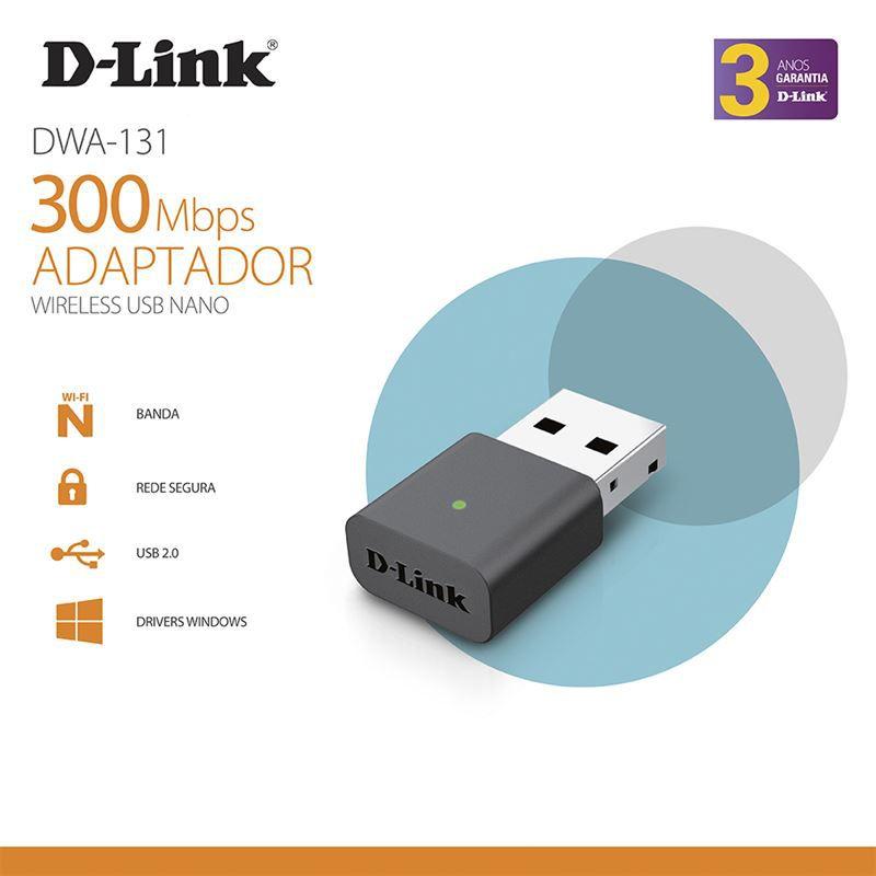 Adaptador D-LINK Wireless USB 300MBPS - DWA-131/ZTR