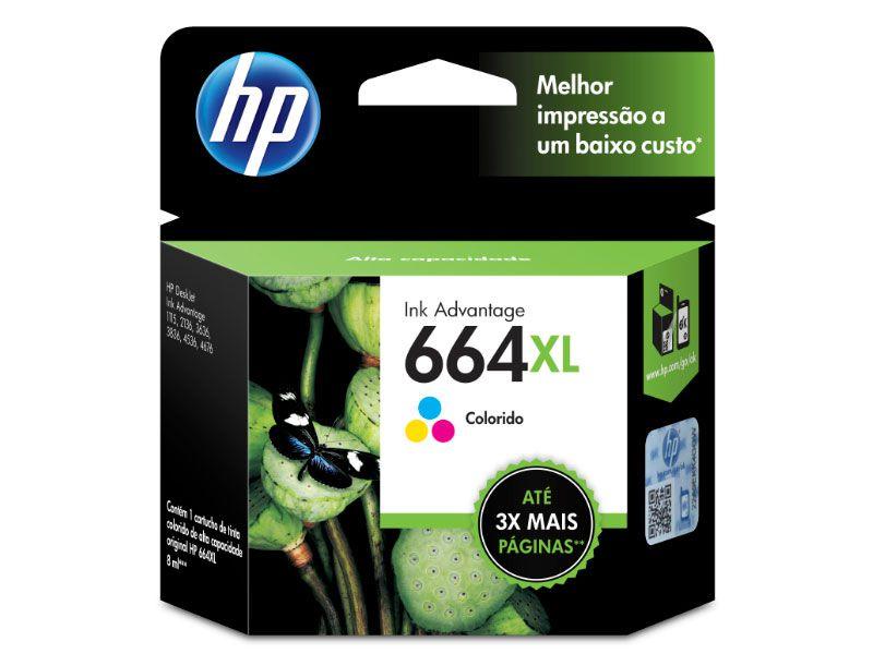 Cartucho HP 664XL  Jato de Tinta  Tricolor 8,5ML - F6V30AB