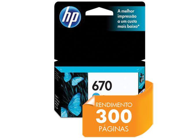 Cartucho HP 670 Ciano 3,5ML - CZ114AB