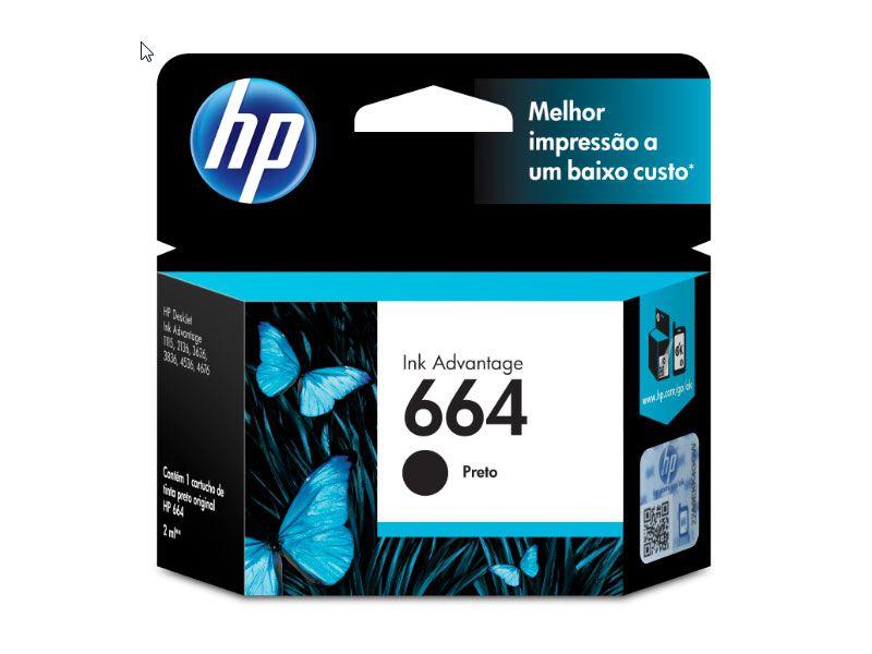 Cartucho HP INK Advantage  Jato de Tinta 664 Preto - F6V29AB