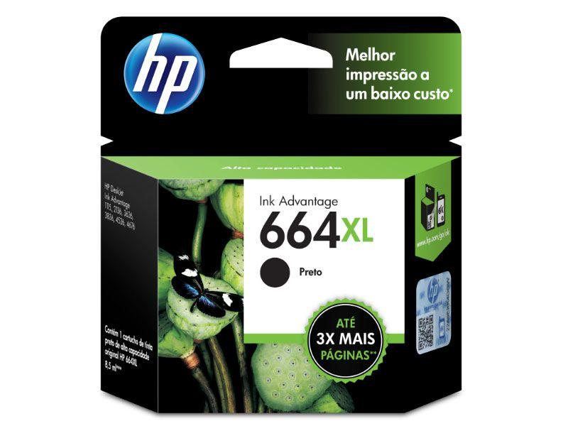 Cartucho HP Jato de Tinta  664XL Preto 8,5ML - F6V31AB