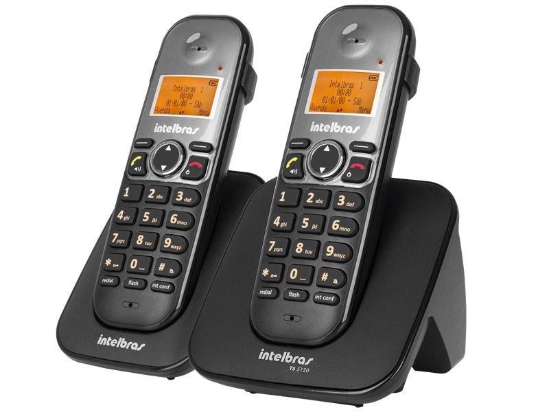 Combo Telefone sem Fio + Ramal Intelbras TS 5122 Preto Viva VOZ/ Identificador de Chamadas 4125122