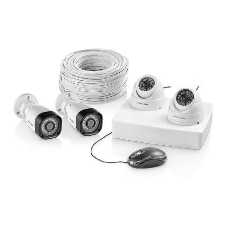 Kit DVR 4 Canais+ Cameras, 2 Dome e 2 Bullet 12 LEDS+100 Metros de Cabo RF-4MM SE118