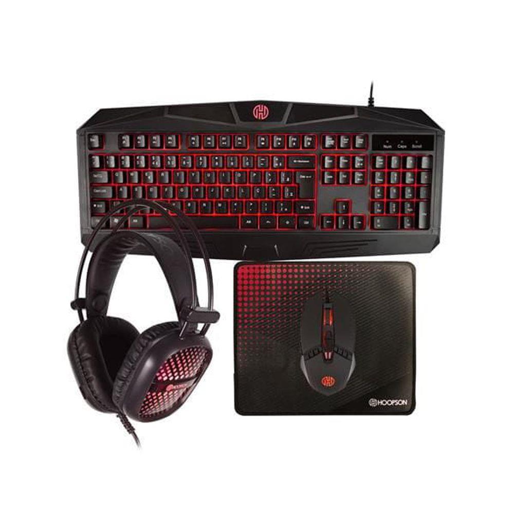 Kit Gamer Hoopson 4 em 1 Teclado Mouse Headset Mouse PAD - Vermelho - TPC-050R