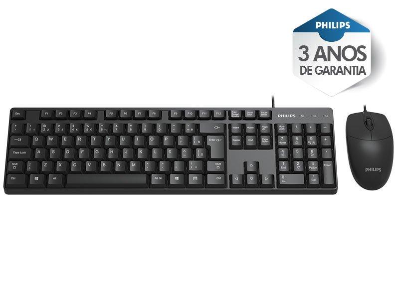 Kit Teclado e Mouse Teclado SPT6254 Perfil Baixo ABNT USB  Preto Philips