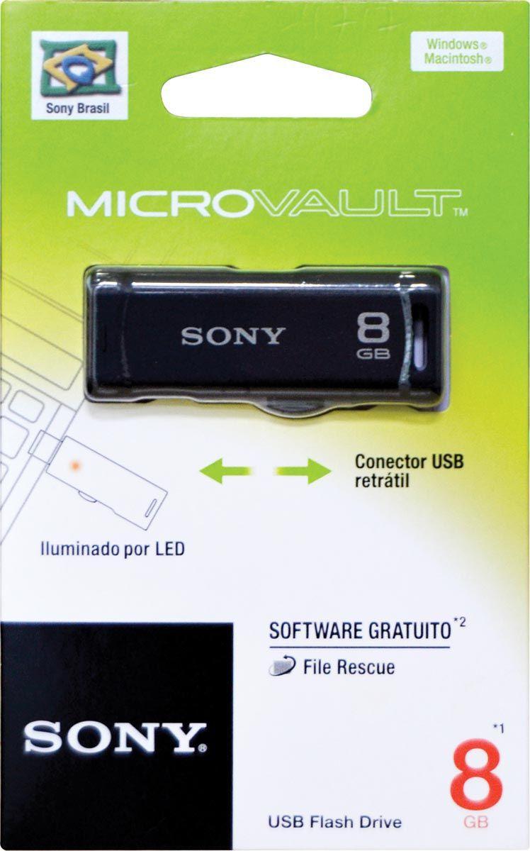 Pen Drive 8GB com Conector Retratil USM8GR/B Preto SONY