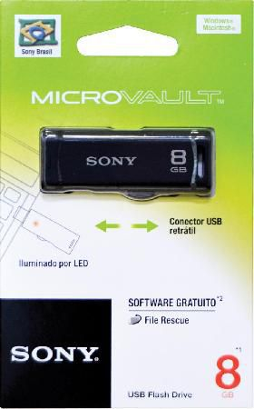Pen Drive SONY Retra�til Preto 8GB USM8GR
