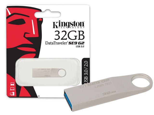 Pen Drive USB 3.0 Kingston DTSE9G2/32GB Datatraveler SE9 G2 32GB Prata