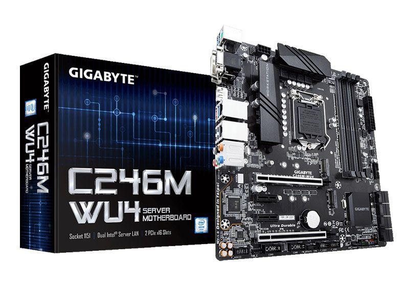 Placa Mae Servidor INTEL Gigabyte C246M-WU4 Xeon E-2000 LGA1151 DDR4 ECC UDIMM Chipset C246
