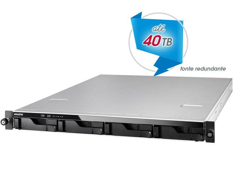 Sistema de Backup e Video Vigilancia NAS Asustor AS6204RD INTEL Quad Core J3160 1,6GHZ  4GB DDR3 RACK 1U 4 Baias