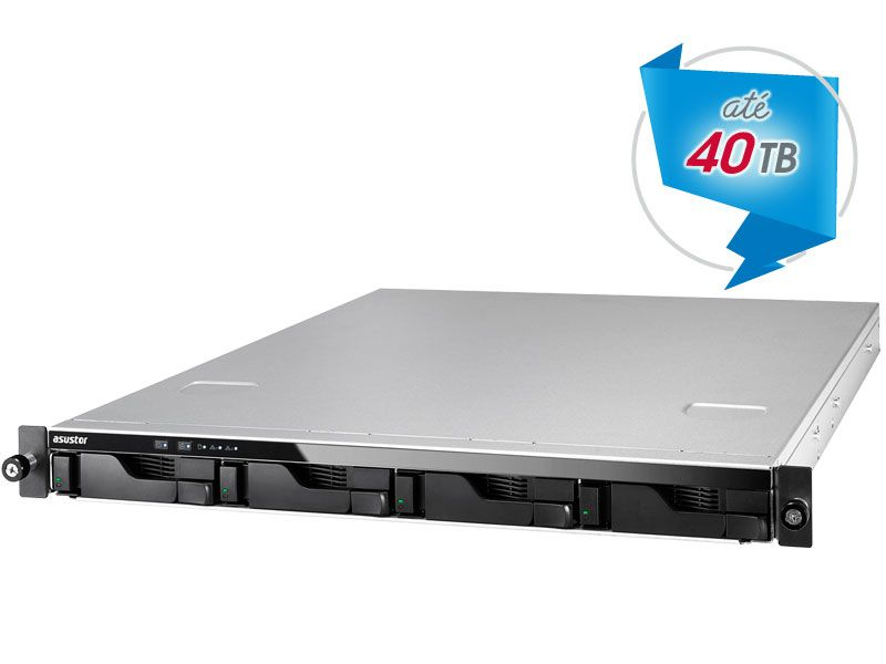 Sistema de Backup e Video Vigilancia NAS Asustor AS6204RS INTEL Quad Core J3160 1,6GHZ  4GB DDR3 RACK 1U 4 Baias