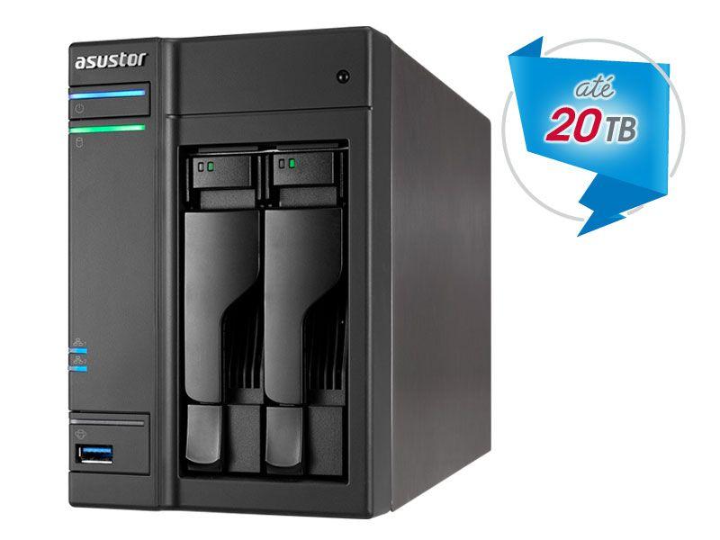 Sistema de Backup e Video Vigilancia NAS Asustor AS6302T INTEL Dual Core J3355 2.0GHZ 2GB DDR3 Torre 2 Baias