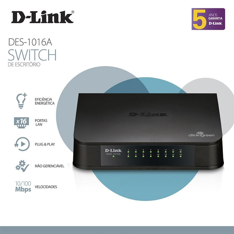Switch D-LINK DES-1016A 16 Portas FAST-ETHERNET 10/100MBPS