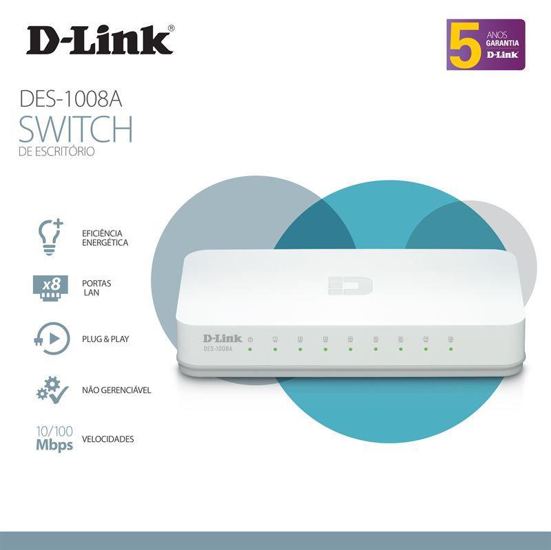 Switch D-LINK DGS-1008A 8 Portas 10/100/1000MBPS