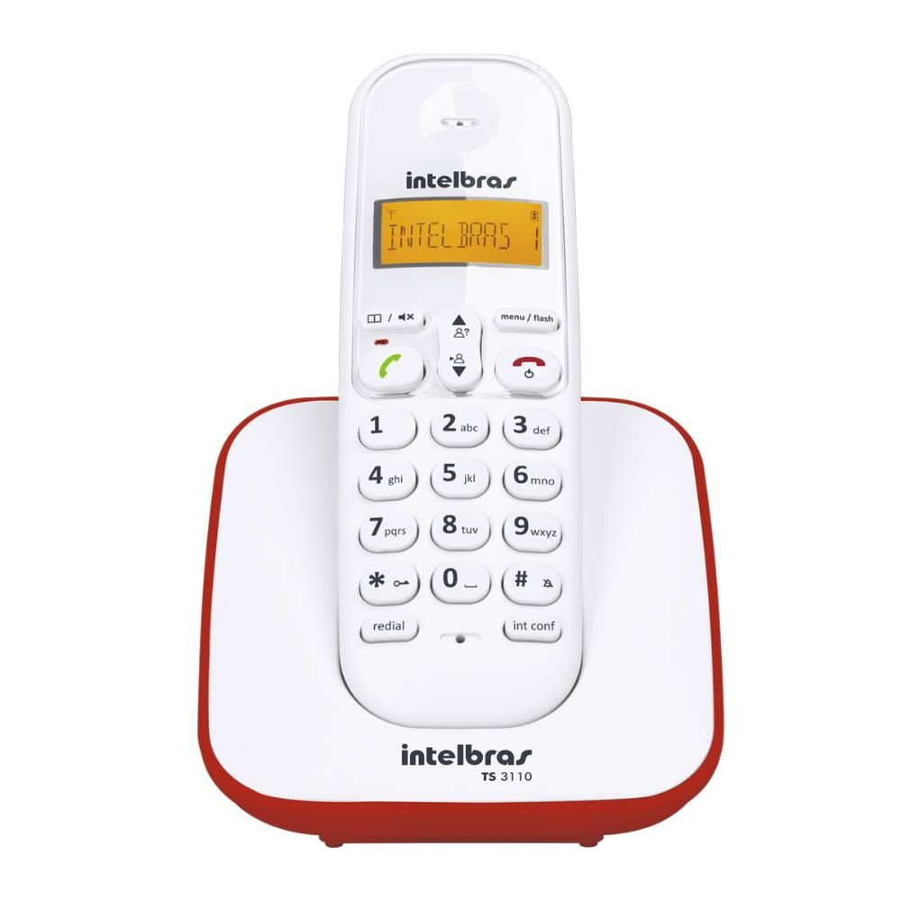 Telefone Intelbras sem Fio TS 3110 BRANCO/VERMELHO - 4123101