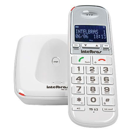 Telefone sem Fio Digital com Identificador de Chamadas Viva VOZ TS63V Branco Intelbras