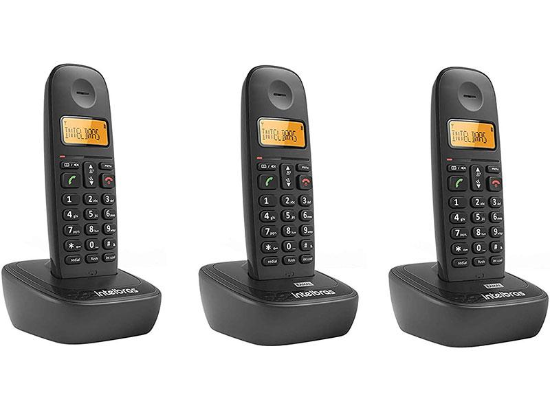 Telefone sem Fio Intelbras 4122513 TS 2513 Preto DECT 6.0 com 02 Ramais  e Indentificador