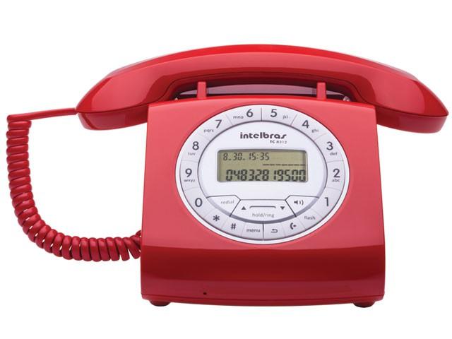 Telefones com Fio Intelbras ICON 4030162 TC8312 Vermelho Retro C/IDENTIFICADOR de Chamadas