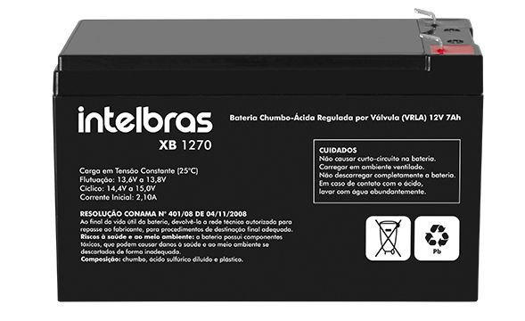 XB 1270 - Bateria VRLA 12V 7,0 AH Intelbras