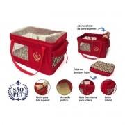 Bolsa Aerial São Pet Vermelha para Transporte de Cães e Gatos em Avião 43cm x 32cm x 24cm