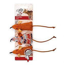 Brinquedo para Gatos AFP Dreams Catcher Ratinhos Marrom - 3 Pack Mice