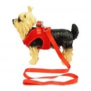 Coleira Peitoral com Guia para Cachorro Tecido Aerado Emporium Distripet Vermelha
