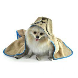 Toalha de Banho Com Capuz Para Cachorro Bichinho Chic Bege Com Azul