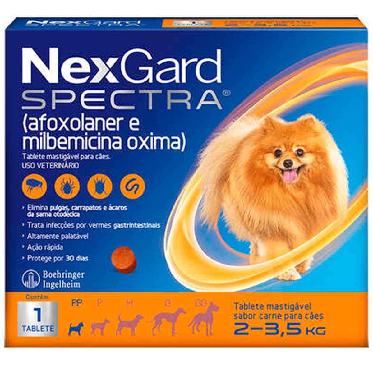 Antipulgas e Carrapatos NexGard Spectra para Cães de 2 a 3,5 Kg