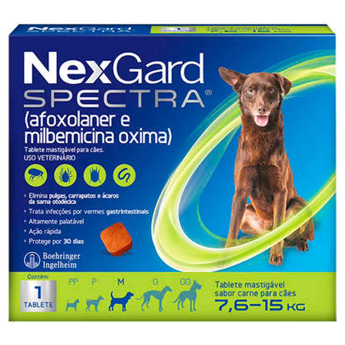 Antipulgas e Carrapatos NexGard Spectra para Cães de 7,6 a 15 Kg