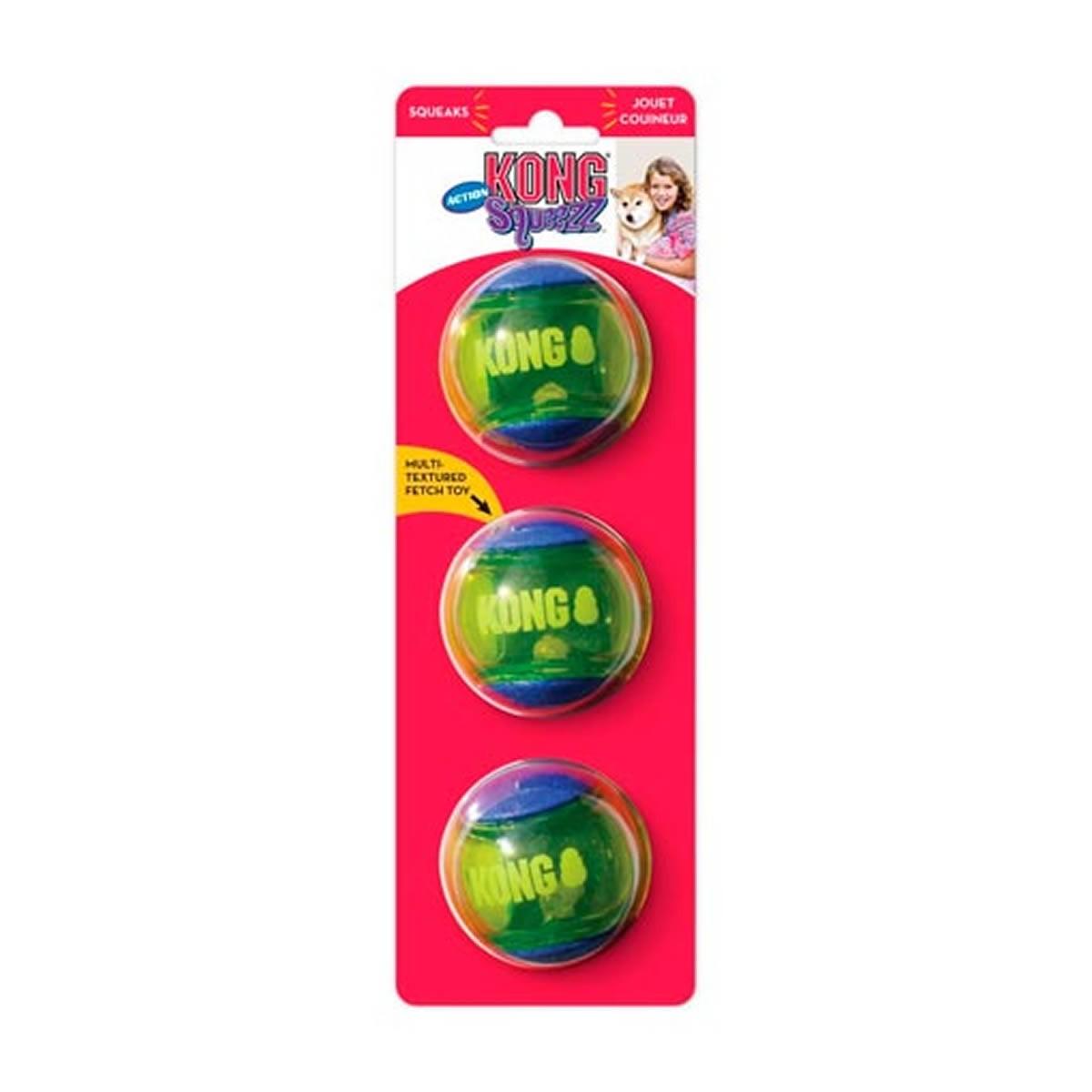 Bola Para Cachorro Kong Squeezz Action Ball Azul e Amarelo