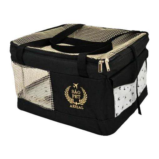 Bolsa Aerial São Pet Preta para Transporte de Cães e Gatos em Avião 36cm x 33cm x 23cm