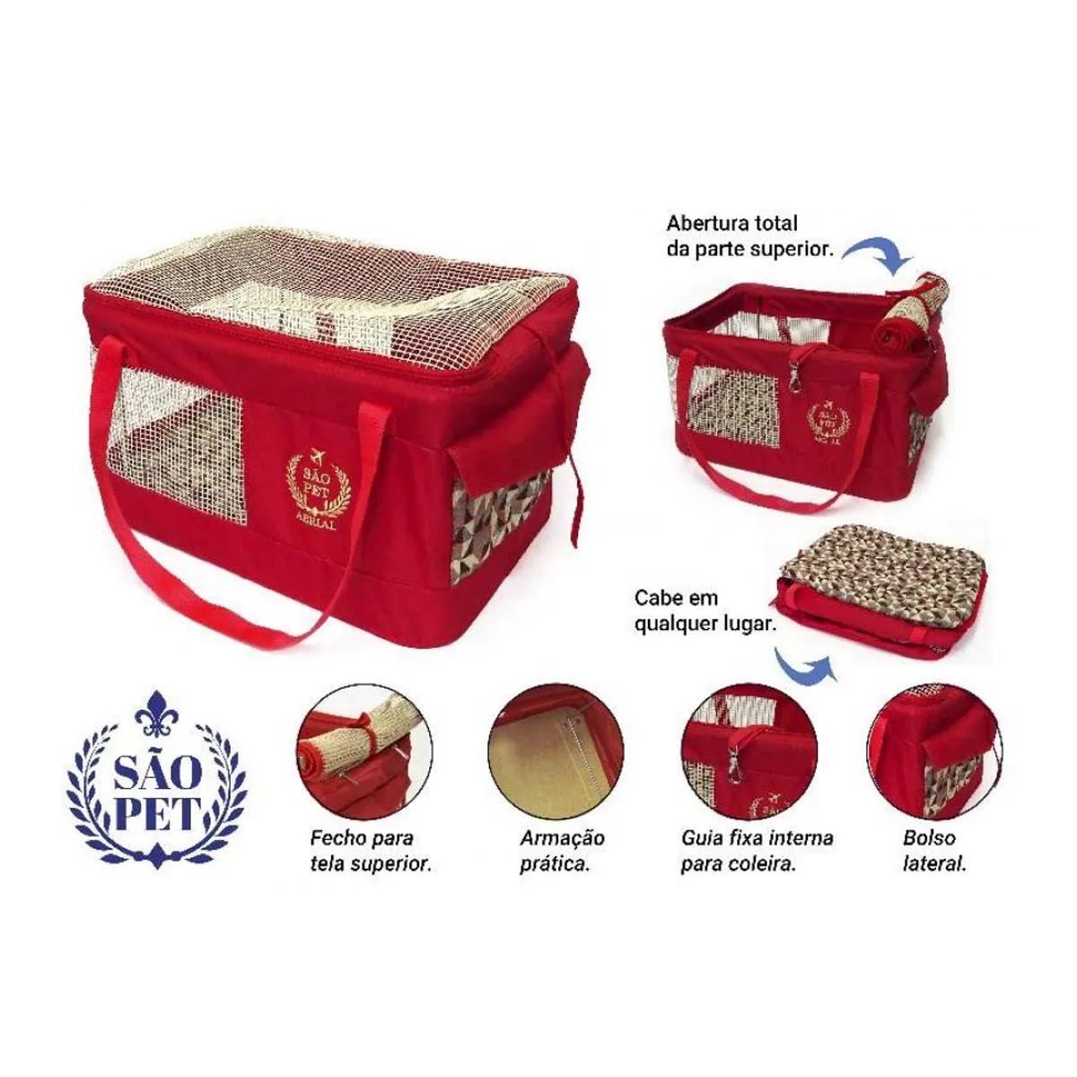 Bolsa Aerial São Pet Vermelha para Transporte de Cães e Gatos em Avião 36cm x 33cm x 23cm
