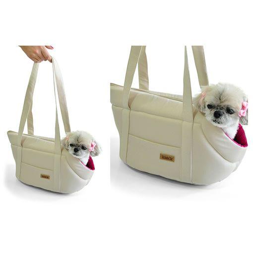Bolsa Transporte Bichinho Chic Bege com Rosa