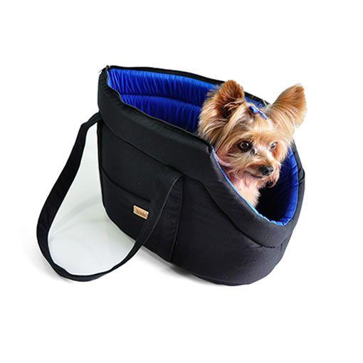Bolsa Transporte Bichinho Chic Preto com Azul