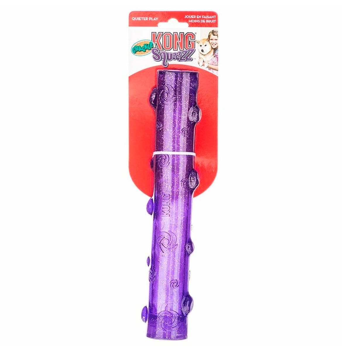Brinquedo Bastao Kong Squeezz Crackle com Som Crocante Roxo