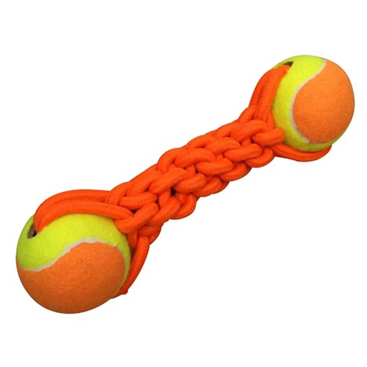 Brinquedo de Corda para Cachorro Duplo com Bola Pet&Go Laranja