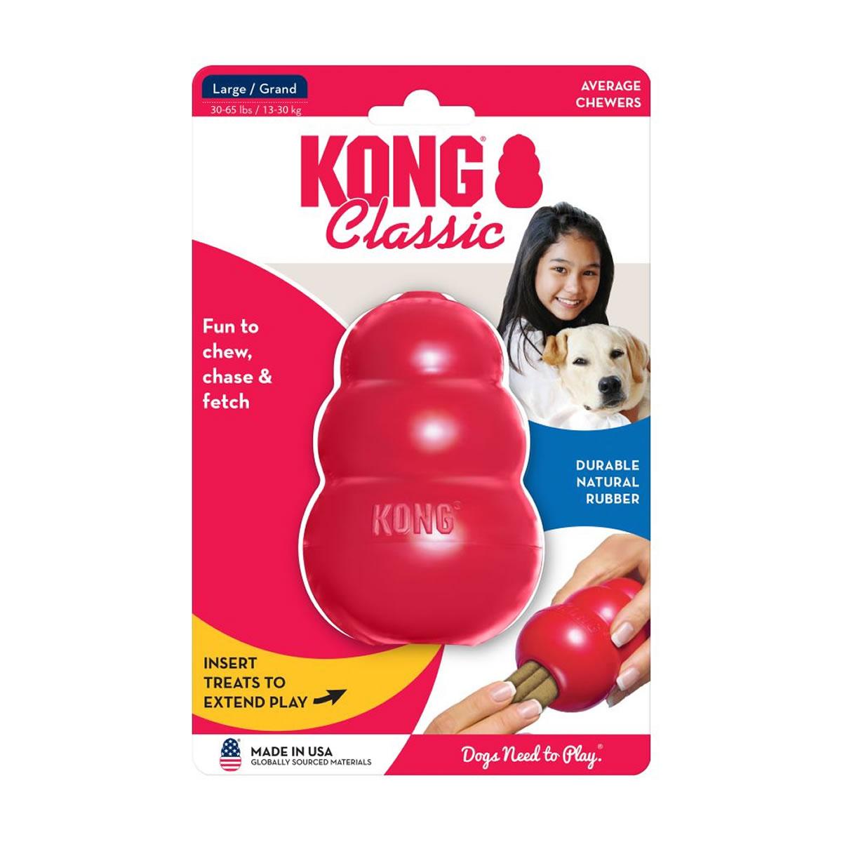 Brinquedo Interativo Kong Classic com Dispenser para Ração ou Petisco Vermelho