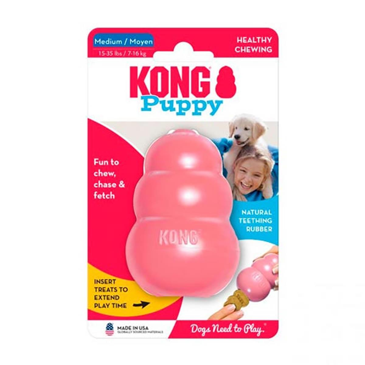 Brinquedo Interativo para Cachorro Filhote Kong Puppy com Dispenser para Ração Rosa