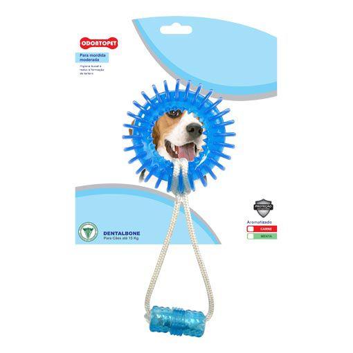 Brinquedo para Cachorro Argola Espacial com Corda Dentalbone Odontopet Azul para Cães até 15Kg