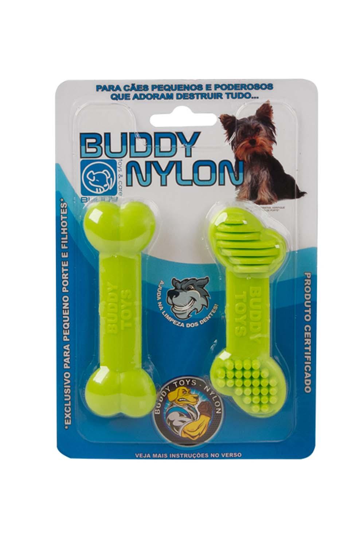Brinquedo para Cachorro Buddy Toys Osso PP Nylon Verde