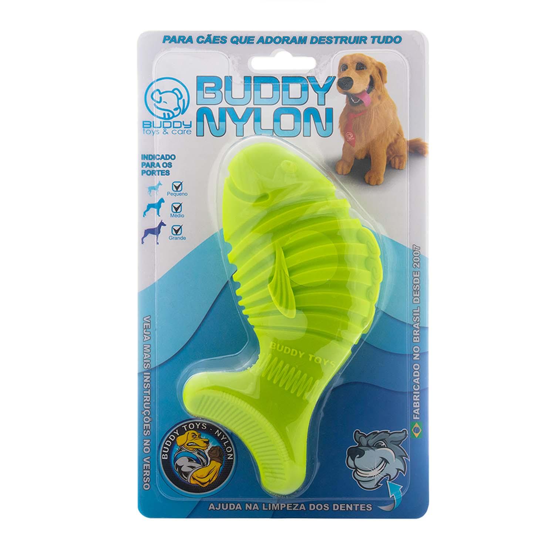 Brinquedo para Cachorro Buddy Toys Peixe de Nylon Verde