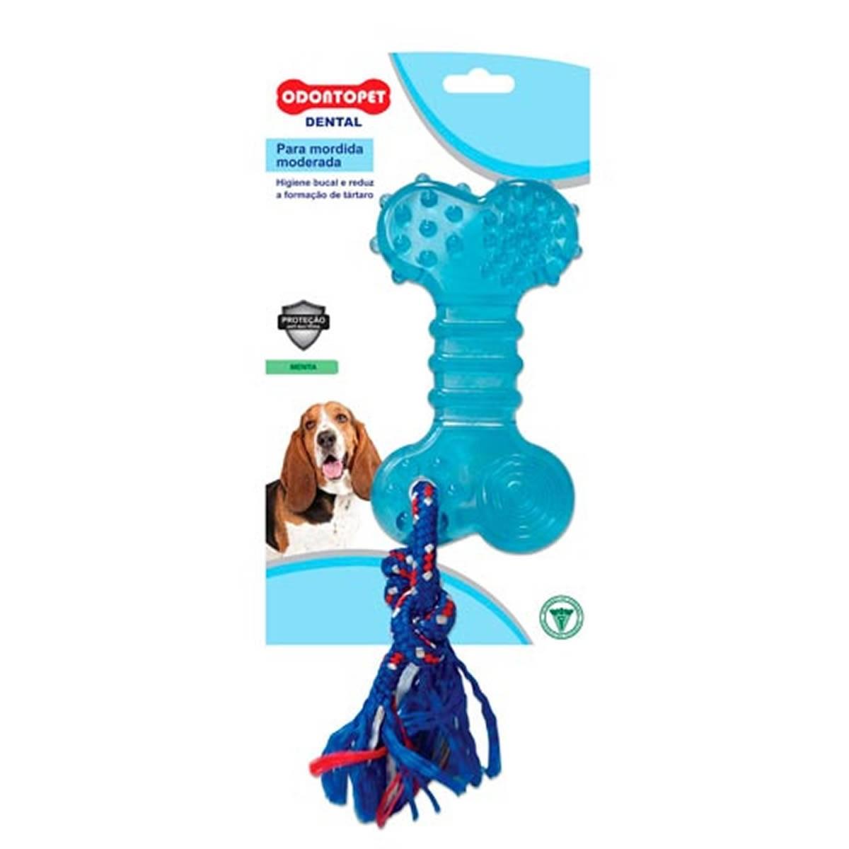 Brinquedo para Cachorro Flat com Corda Dentalbone Odontopet Azul