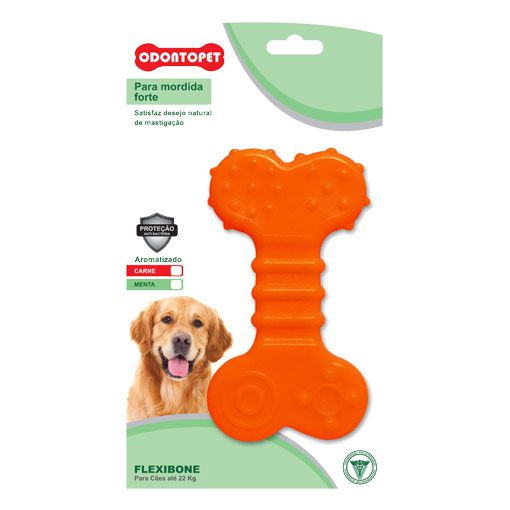 Brinquedo para Cachorro Flat Flexibone Odontopet Laranja