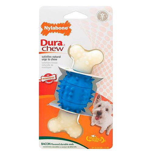 Brinquedo para Cachorro Osso Mordedor Nylabone Dura Chew Ação Dobrada Bacon