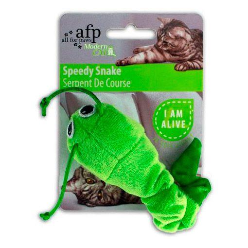 Brinquedo para Gato AFP Serpente de Pelúcia com Vibração Verde