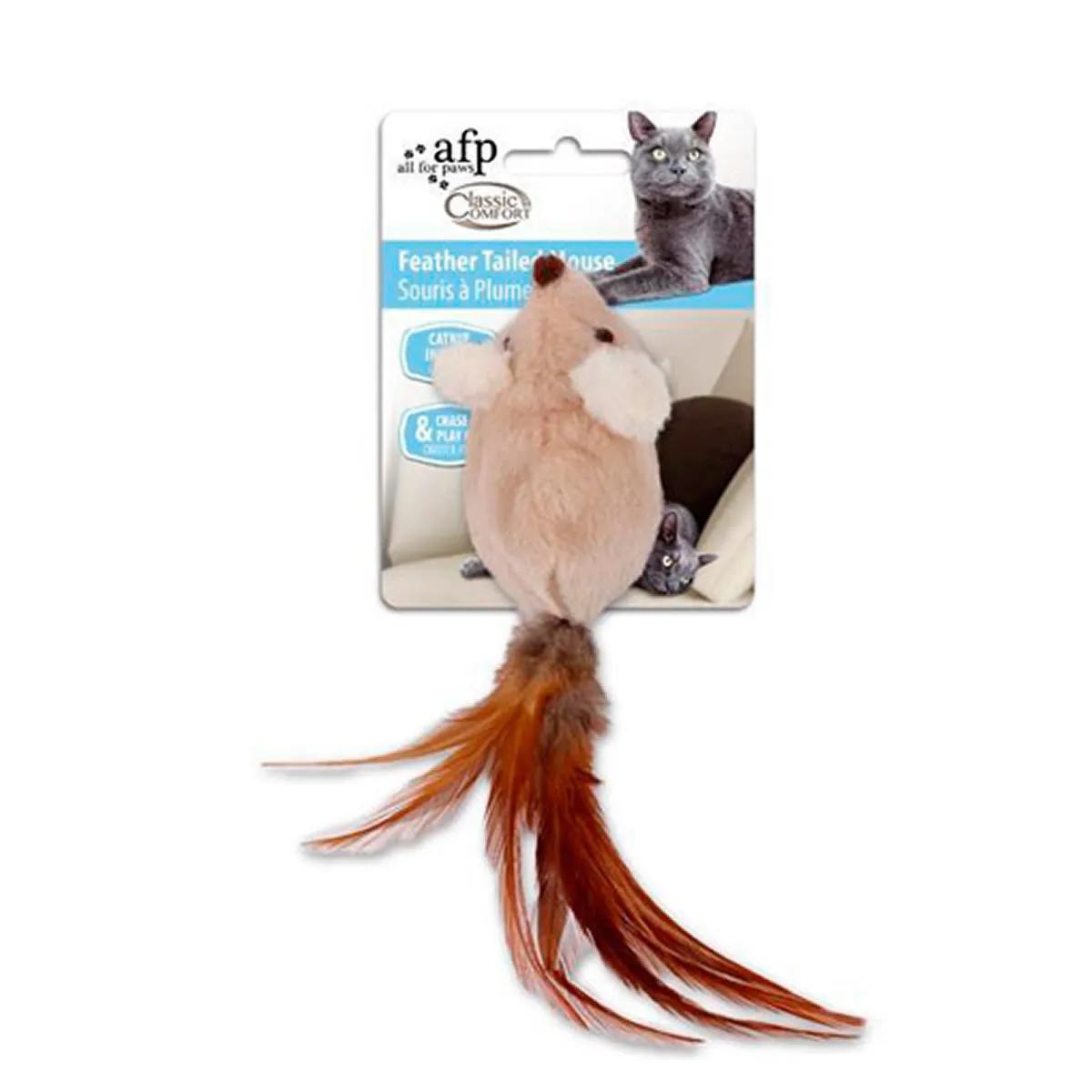 Brinquedo para Gatos AFP Classic Comfort Rato com Rabo de Penas Bege - Feather Tailed Mouse