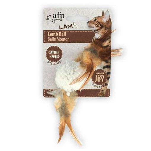 Brinquedo para Gatos AFP LAM Cordeiro de Penas Branco - Lamb Ball