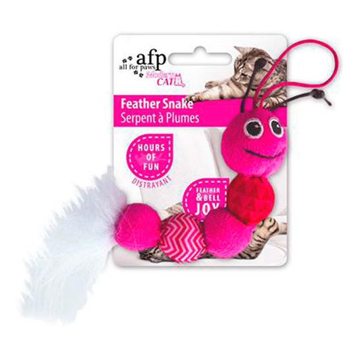 Brinquedo para Gatos AFP Modern Cat Cobra de Penas Rosa - Feather Snake