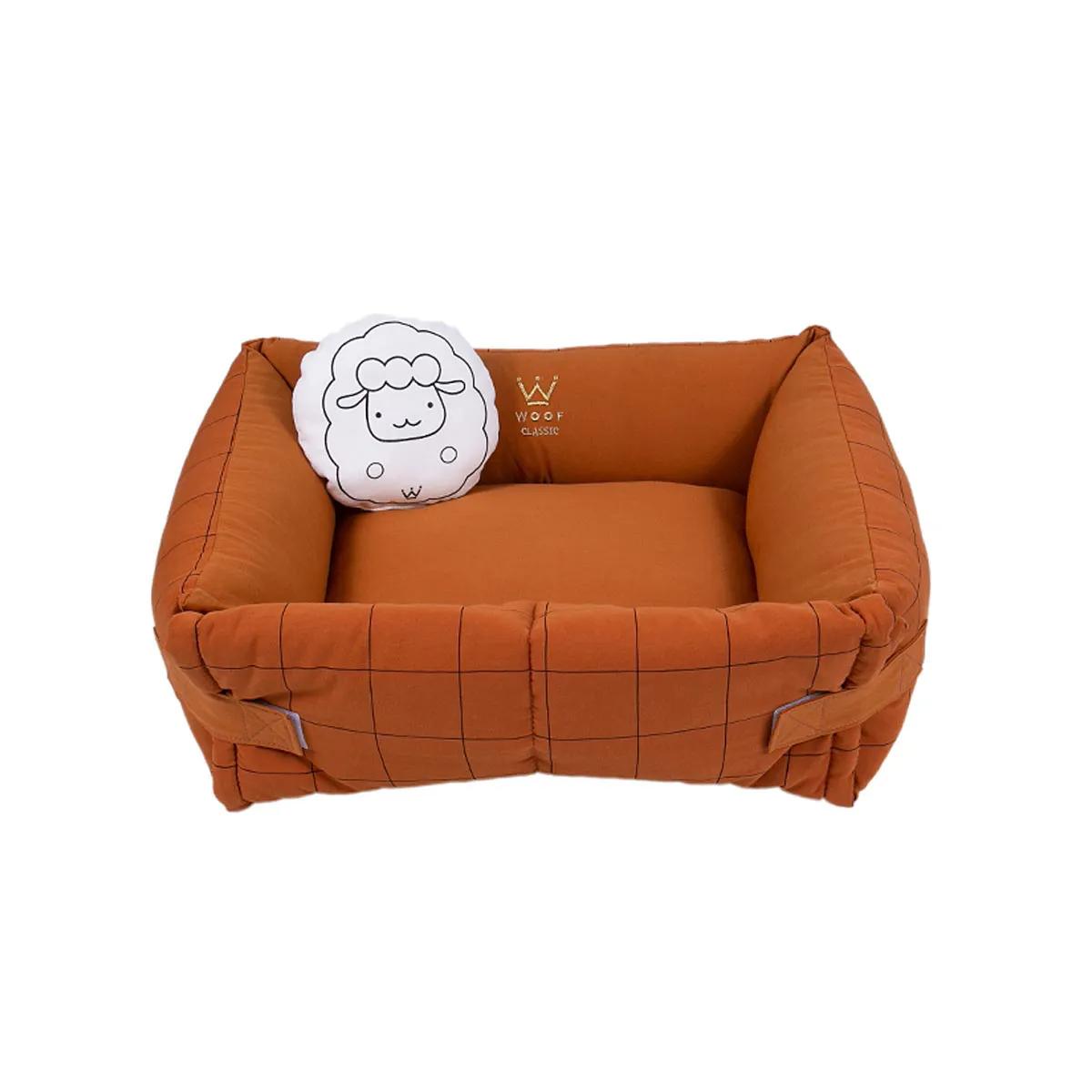 Cama para Cachorro e Gato Woof Pet Couch Grid Sarja / Linho Caramelo Sheep Grid